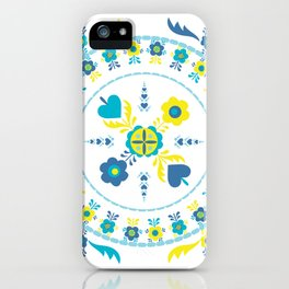 Folk Flowers in Yellow and Turquoise iPhone Case