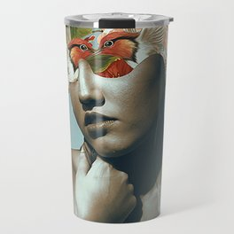 Moon woman collage art Travel Mug