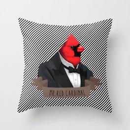 MR.RED CARDINAL Throw Pillow
