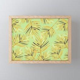 Palm Leaf - green light background Framed Mini Art Print