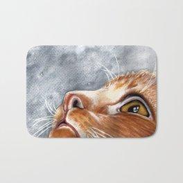 Ginger Cat Watercolour Painting Bath Mat