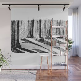 Trees Casting Shadows in the Woods Wall Mural