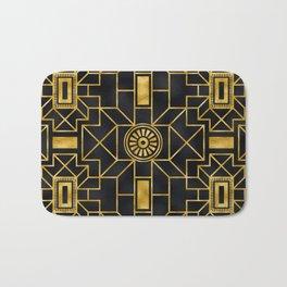 24-Karat Elegant Gold and Black Art Deco Design Bath Mat
