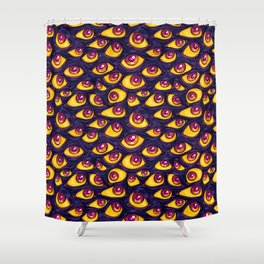 Wall of Eyes in Dark Purple Shower Curtain