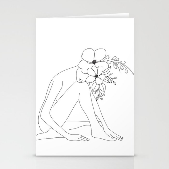 Minimal Line Art Nude Woman with Flowers Stationery Cards