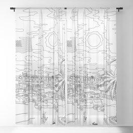 Orlando Sunrise - Line Art Sheer Curtain