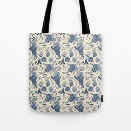 Blue Floral Pattern Tote Bag