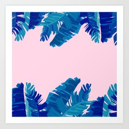 Hand painted navy blue blush pink watercolor tropical leaves Art Print