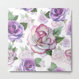 Hand painted lavender purple watercolor roses flowers Metal Print
