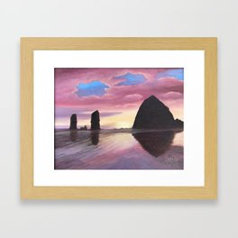 Pink Clouds at Haystack Rock Framed Art Print