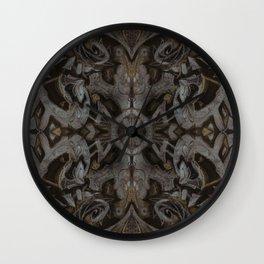 Curves & Lotuses, Black Brown Taupe Wall Clock