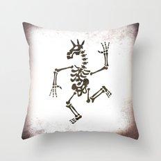 Skeleton Unicorn Dance 2 Throw Pillow