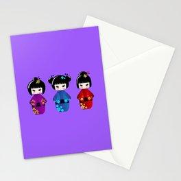 Cute kokeshi dolls cartoon Stationery Cards