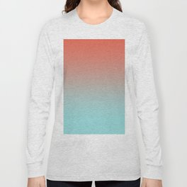Pantone Living Coral & Limpet Shell Gradient Ombre Blend, Soft Horizontal Line Long Sleeve T-shirt