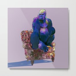 animals in chairs #19 The Gorilla on Chintz Metal Print