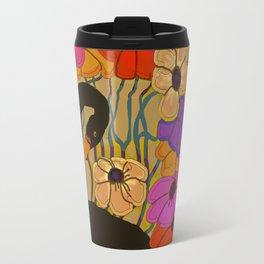 Swan Swimming Through Flowers Travel Mug