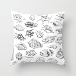 collection of sea shells, black contour on white background Throw Pillow