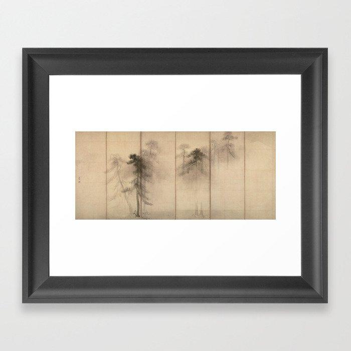 Pine Trees Six-Fold Azuchi-Momoyama Period Japanese Screen - Hasegawa Tohaku Gerahmter Kunstdruck