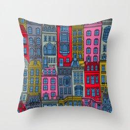 New York Brownstones Bright Multicolor Throw Pillow