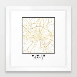 MUNICH GERMANY CITY STREET MAP ART Framed Art Print