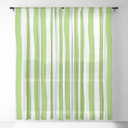 Green and White Cabana Stripes Palm Beach Preppy Sheer Curtain