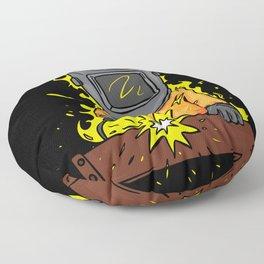 Cartoon Welder Who Is On Fire Floor Pillow