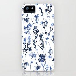 Blue Watercolor Flowers iPhone Case