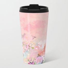 Modern blush watercolor ombre floral watercolor pattern Metal Travel Mug