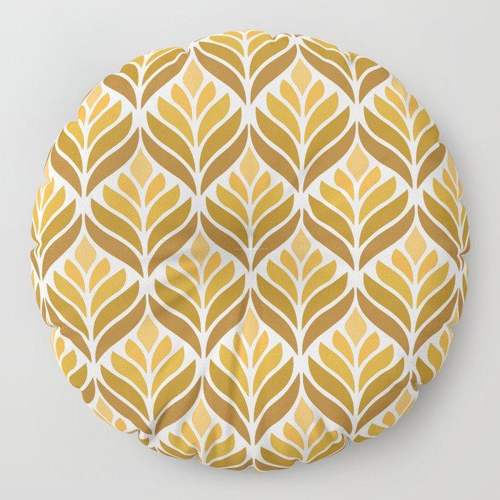 Yellow Retro Flower Pattern Floor Pillow