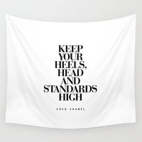 heels Wall Tapestries featuring Keep Your Heels High Inspirational Quote Typography Print by The Motivated Type