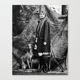 Woman with galgo espagnol Canvas Print