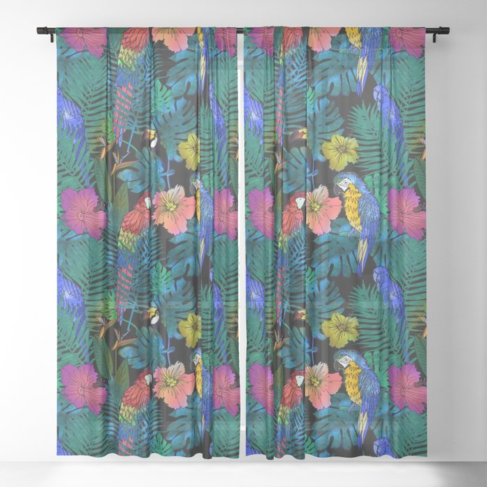 Tropical Birds and Botanicals Sheer Curtain
