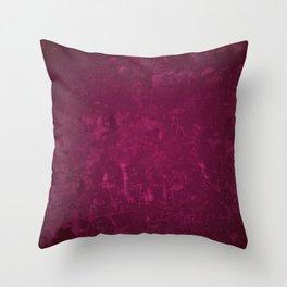 CLARET distressed bright burgundy wine design Throw Pillow