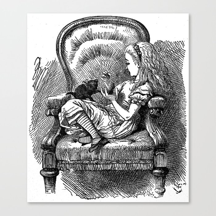 Vintage Alice In Wonderland With Black Kitten Antique Book Drawing Emo Goth Illustration Art Print Canvas Print By Igallery Society6