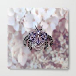 Ornate Purple Beaded Butterfly Metal Print