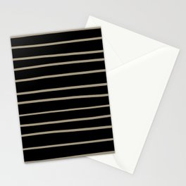 Pantone Twill Brown 16-1108 Hand Drawn Horizontal Lines on Black Stationery Cards