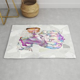 Cute sorcerer with a pink candy treasure chest Rug