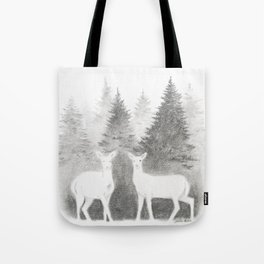 Albino Deer and Pine Forest Tote Bag