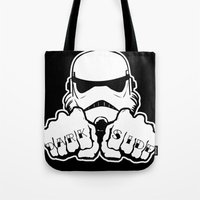 dentist Tote Bags featuring Dark Side Knuckle by Don Calamari