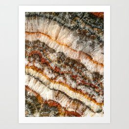 Agate Crystal V // Red Gray Black Yellow Orange Marbled Diamond Luxury Gemstone Art Print