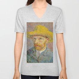 Self-Portrait with a Straw Hat - Vincent Van Gogh Unisex V-Neck