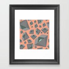 Mint and Gray Diamond on Peach Framed Art Print