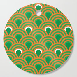 retro sixties inspired fan pattern in green and orange Cutting Board