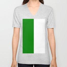 White and Green Vertical Halves Unisex V-Neck