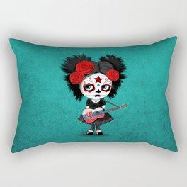 Day of the Dead Girl Playing Slovakian Flag Guitar Rectangular Pillow