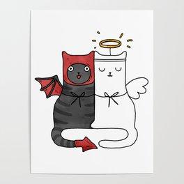 Angel & Demon Cats Poster