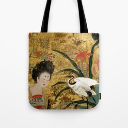 Chinese Beauty and the Crane Tote Bag