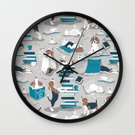 Life is better with books a hot drink and a friend // grey background brown white and blue beagles and cats and turquoise cozy details Wall Clock