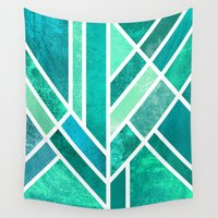 art deco Wall Tapestries featuring Art Deco Mermaid by Elisabeth Fredriksson