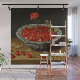 "Jacob van Hulsdonck ""Wild Strawberries and a Carnation in a Wan-Li Bowl"" Wall Mural"